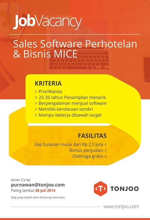 Lowongan Sales Software Perhotelan dan Bisnis Mice Tonjoo.COM July 2014