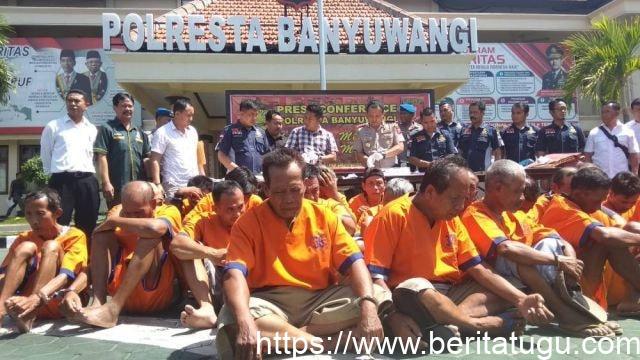 Dalam 5 Hari, 44 Pelaku Judi di Banyuwangi Diciduk