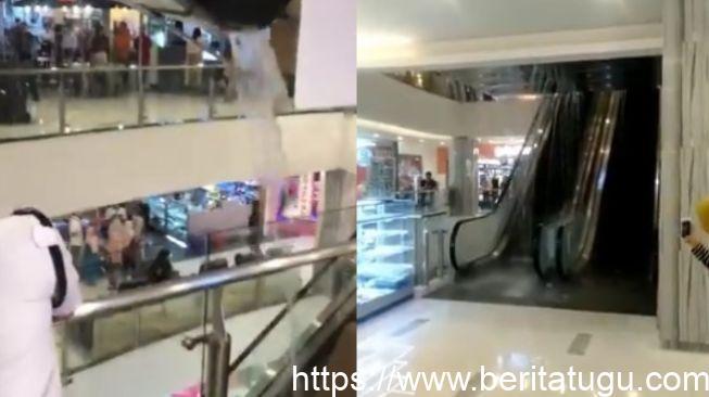 Atap Malioboro Mall Ambyar, Limpasan Air Mengucur Hingga Lantai 1