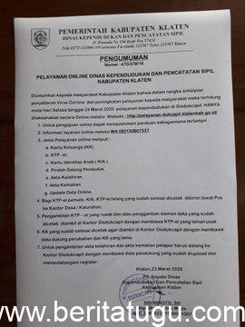 Disdukcapil Kabupaten Klaten Selenggarakan Layanan Melalui Website Dalam Mendukung Social Distancing Pencegahan Penyebaran Virus Corona Covid-19