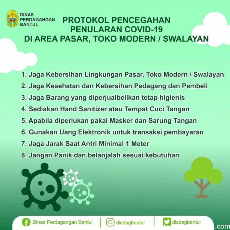 Infografis : Protokol Pencegahan Penularan COVID-19 di Area Pasar dan Swalayan