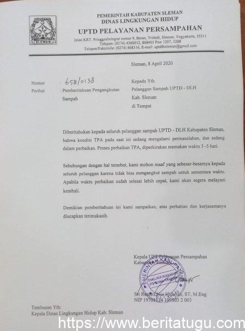 TPA Piyungan dalam perbaikan, UPTD pelayanan persampahan untuk sementara waktu memberhentikan pelayananya