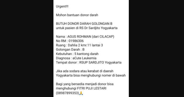 Membutuhkan Donor Darah Segera Pasien RS Dr Sardjito Yogyakarta