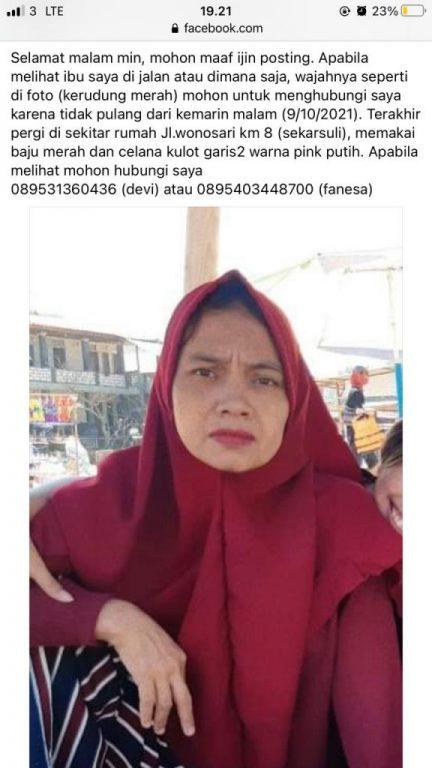Info Seorang Ibu Hilang dan Belum di Temukan Sejak Sabtu, 9 Oktober 2021